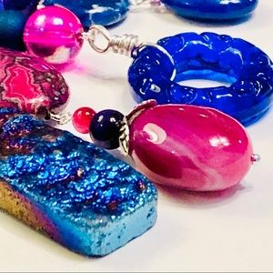 LUX Cobalt Fuchsia Assemblage Necklace & Earrings